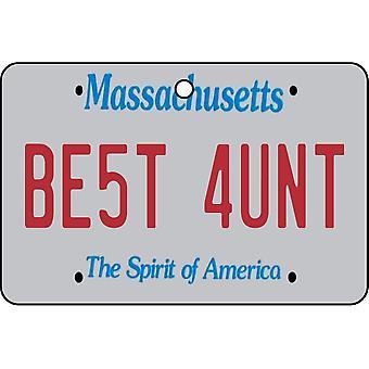 Massachusetts - Best Aunt License Plate Car Air Freshener