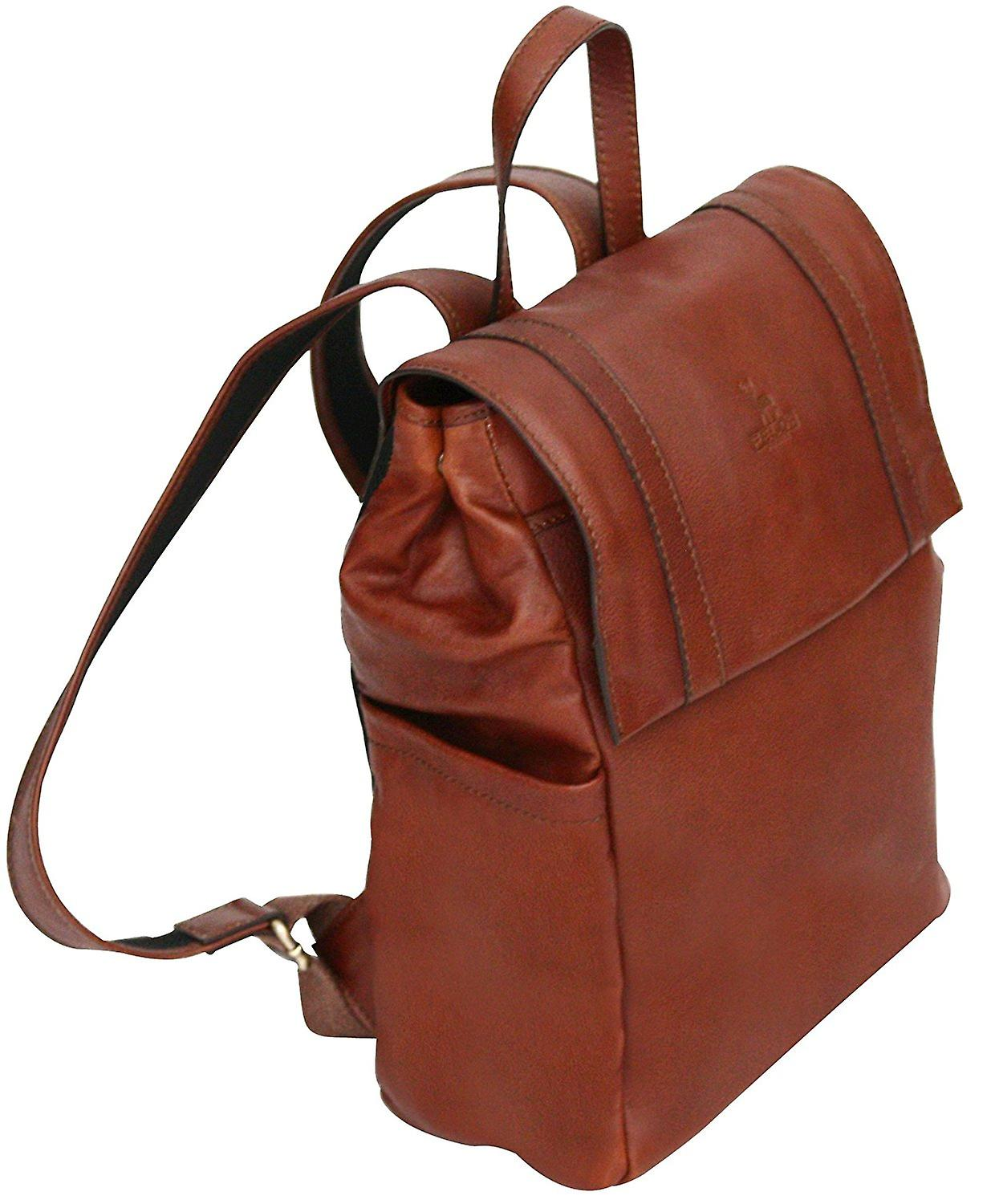 Genuine Leather Backpack Case Rucksack Bag Satchel With Padded Tablet Pocket Made In Italy
