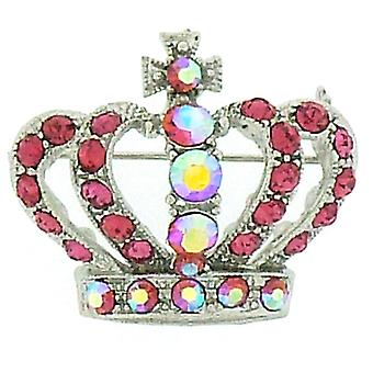 Brooches Store Small Silver  and  Light Rose Crystal Queens Crown Brooch