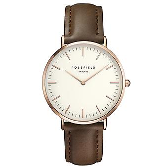 Rosefield The Bowery Brown Leather Strap Rose Gold Ladies' Watch