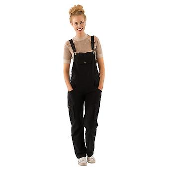 USKEES Daisy Women's Black Cotton Dungarees Loose Fit  Roll-up leg Overalls