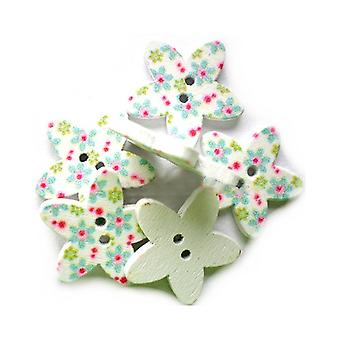 Packet 5 x Multicolour Wood 23mm Star 2-Holed Patterned Sew On Buttons HA14450
