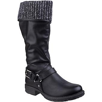 Divaz Womens/Ladies Monroe Pull On Tall Cuffed Fur Lined Casual Boots
