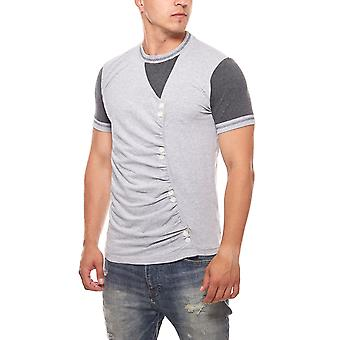 RUSTY NEAL mens T-Shirt grey buttons with buttons
