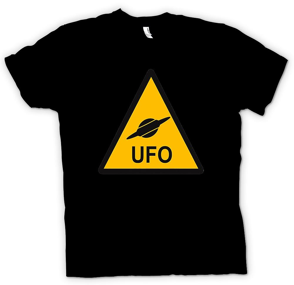 Womens T-shirt - UFO Warning Sign - Funny Kids