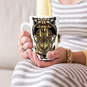 Zło głowy ogień twarz czaszki Nowa Biała herbata kawa Latte ceramiczny kubek 17 oz   Wellcoda