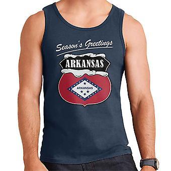 Seasons Greetings Arkansas State Flag Christmas Men's Vest