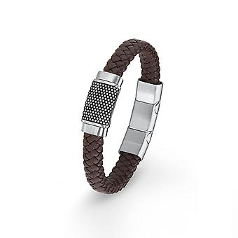 s.Oliver jewel mens bracelet stainless steel Leather Brown 2015053