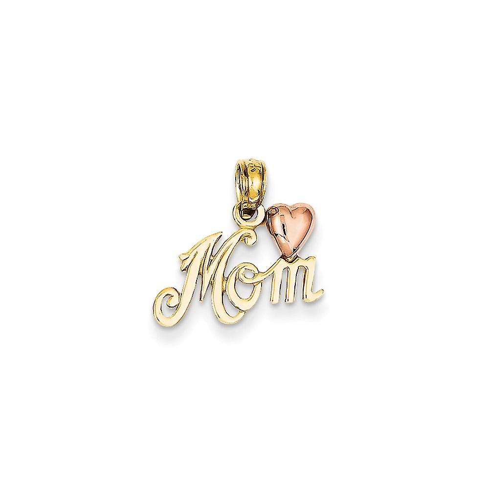 14k Two-Tone or Polished Mom with Heart Pendant - .8 Grams - Measures 15.5x15.3mm