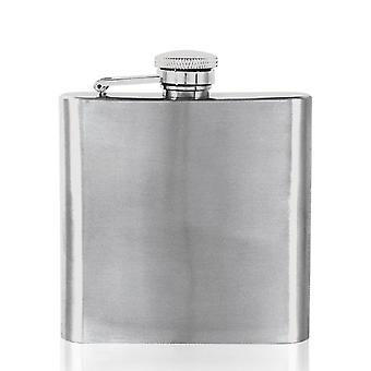Plain Brushed Finish Stainless Steel Flask - 6oz