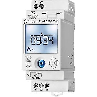 DIN rail mount timer Operating voltage: 230 Vdc, 230 V AC Finder 12.61.8.230.0000 1 change-over 16 A 250 V AC Week settings