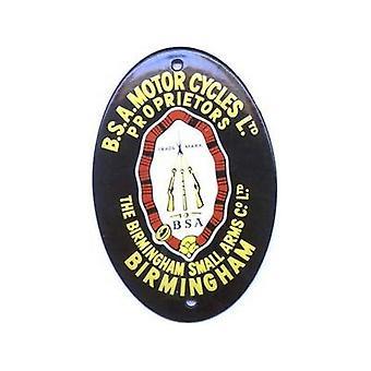 Bsa Motorcycles Ltd Oval Vitreous Enamelled Badge (Black) (Wm 118)