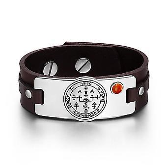 Ærkeengel Uriel Sigil magiske kræfter Amulet rød Jasper Gemstone mørk brun læder armbånd