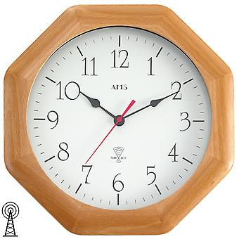 AMS wall clock 5998/18 radio solid beech mineral glass