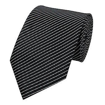 Neck tie necktie ties Binder 8cm black white Pinstripe Fabio Farini