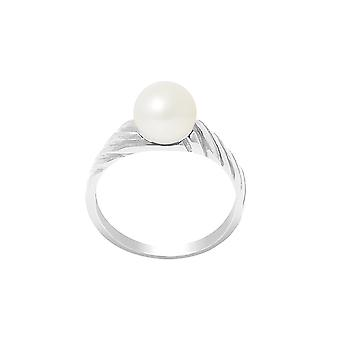 Ring wife Pearl of Culture of water soft 7-8 mm white and Silver 925/1000
