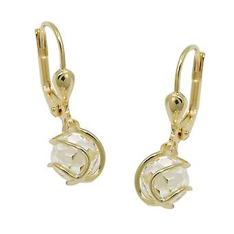 Brisur 24x8mm earring ball wrapped around cubic zirconia white faceted 8Kt GOLD