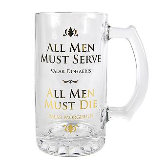 Game of Thrones beer mug printed all men must serve transparent, glass, gift box included.