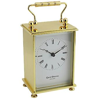 David Peterson flach Messing Quartz Reiseuhr - Gold