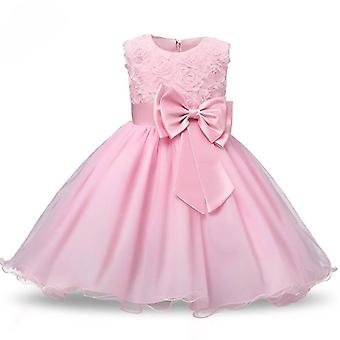 Princess dress with rosette and Flowers-Pink (120)