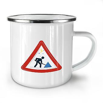 Traffic Sign Umbrella NEW WhiteTea Coffee Enamel Mug10 oz | Wellcoda