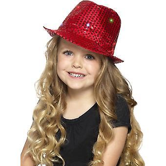 Oplichten Sequin Trilby hoed, rode, met multifunctionele LED verlichting