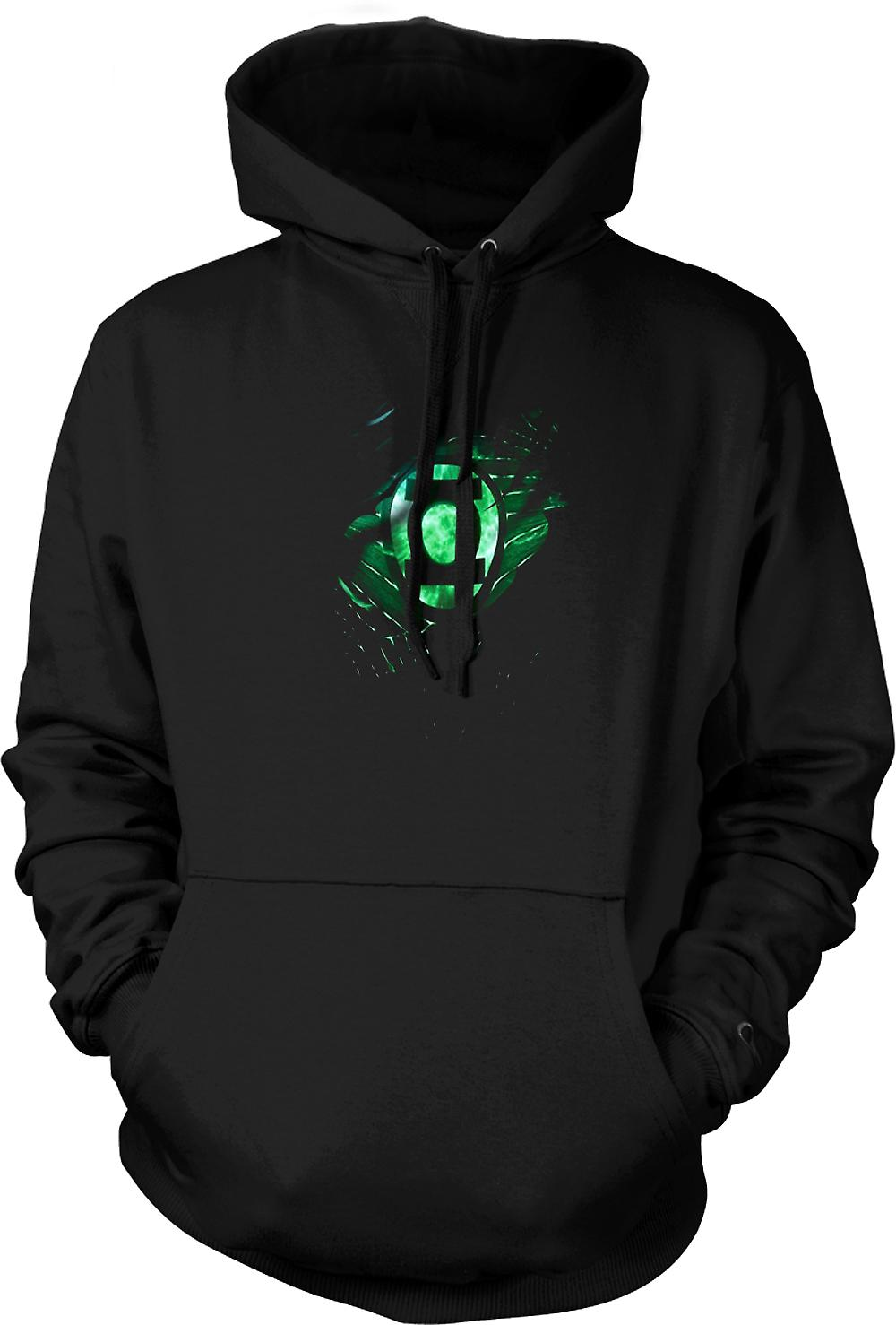 Mens Hoodie - The Green Lantern - Superhero Ripped Design