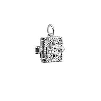 Silver 12x11mm moveable Bible with the Hail Mary inside Pendant or Charm