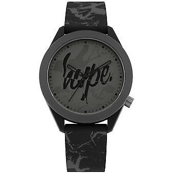 Hype   Mens Grey Print Silicone Strap   Grey Dial   HYG005B Watch
