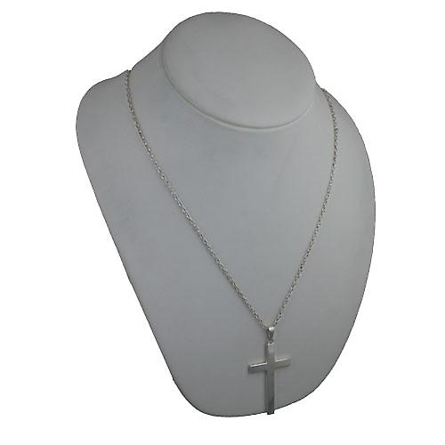 Silver 55x33mm plain solid block Cross with bail on a cable Chain 24 inches