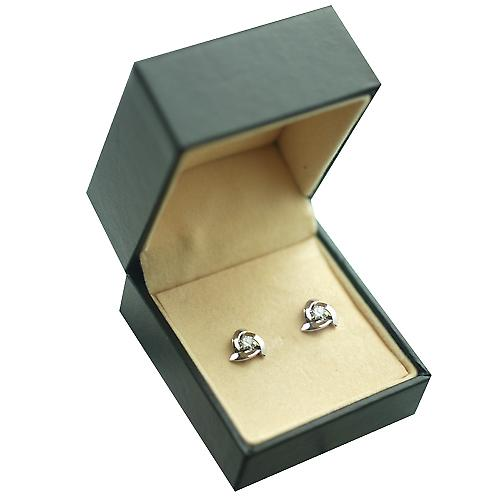 9ct White Gold 8mm 3 half hoops with Cubic Zirconia Stud Earrings no Hallmark