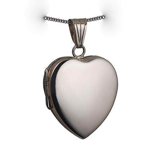 18ct white Gold 24x20mm plain heart Locket with a curb chain