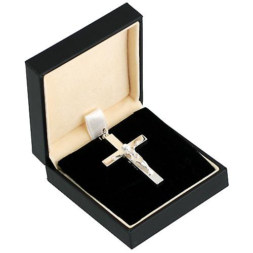 Silver 45x25mm plain block Crucifix