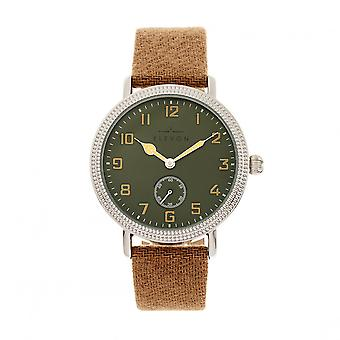 Elevon Northrop Wool-Overlaid Leather-Band Watch - Camel/Green