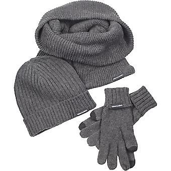 Urban classics - Zestaw-Czapka zimowa szalik rękawiczki szary