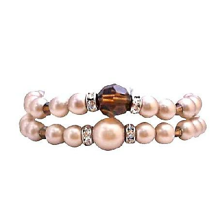 Bridal Jewelry Prom Jewelry Double Stranded Champagne Pearls Bracelet