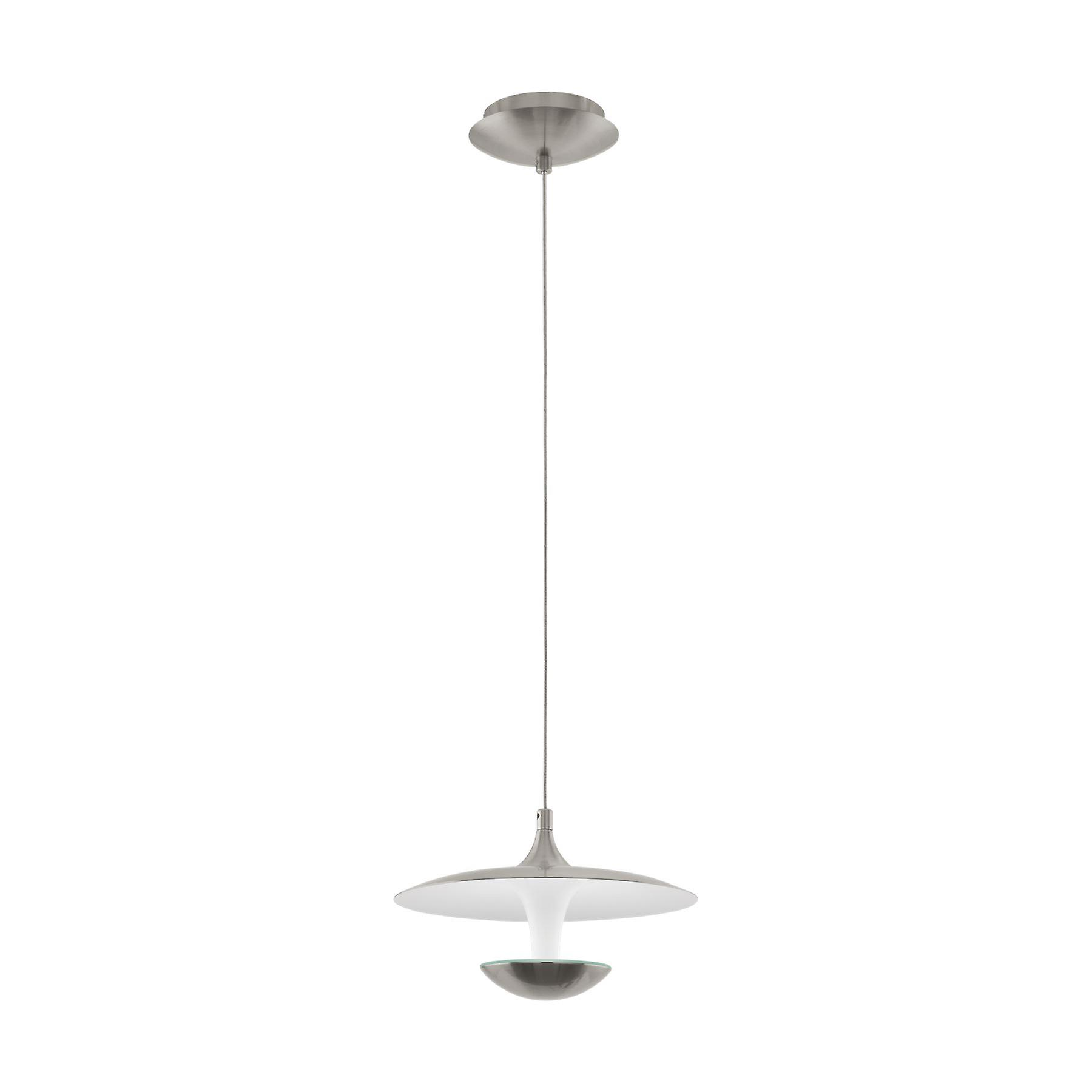 Eglo - Tornja 1 lumière LED pendentif Ceiling lumière Satin Nickel and Shiny blanc EG95955