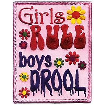 Girls Rule Boys Drool iron-on/sew-on patch (cv)