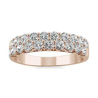 14K Rose Gold Moissanite by Charles & Colvard 2.4mm Round Band, 1.00cttw DEW