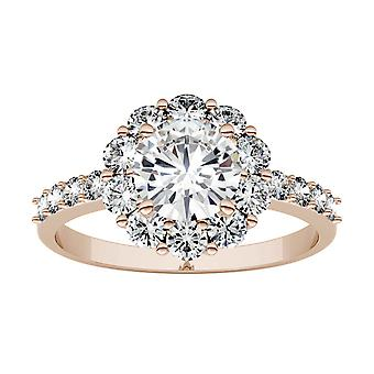 14K Rose Gold Moissanite by Charles & Colvard 6.5mm Round Fashion Ring, 1.78cttw DEW