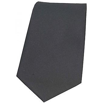 David Van Hagen Horizontal Ribbed Polyester Tie - Charcoal