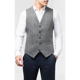 Harris Tweed Mens Black & Grey Herringbone Tweed Waistcoat Regular Fit 5 Button