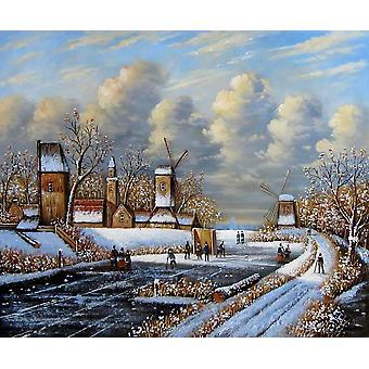 Det europeiske landskap olje maleriet på lerret, 50 x 60 cm