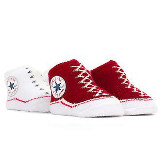 Converse Chuck Taylor All Star Baby Sock tossor Ställ (2-Pack) - röd/vit
