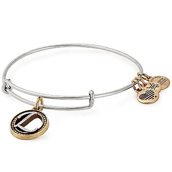 Alex and Ani Initial L Two-Tone Charm Bangle Bracelet - Rafaelian Gold and Silver Finish - A18EBINT12TTRS