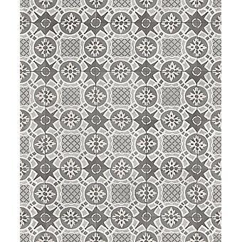 Rasch tegel effect behang ornament Marokkaanse motief zwart grijs wit plakken muur