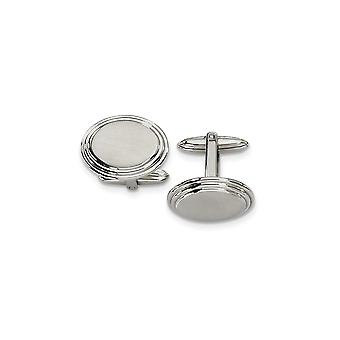 Men's Stainless Steel Brushed and Polished Cuff Links - Engravable Gift Item