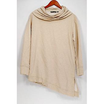 H by Halston Women's Top French Terry Asymmetric Hem Camel Beige A271149