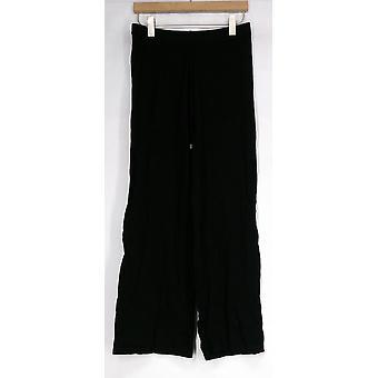 Iman Drapé Pull On Rayon Blend Pantalon Solide Femme Noire 366-338