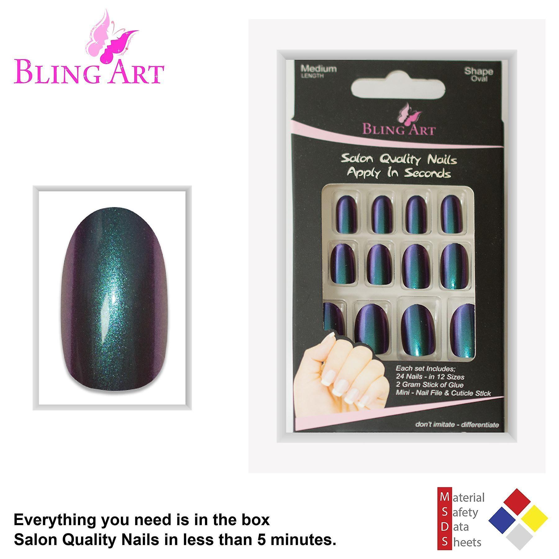 False nails by bling art green purple chameleon oval medium fake 24 nail tips